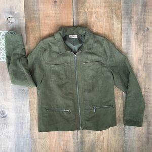 Studio Works Faux Suede Green Short Jacket. Sz 8P
